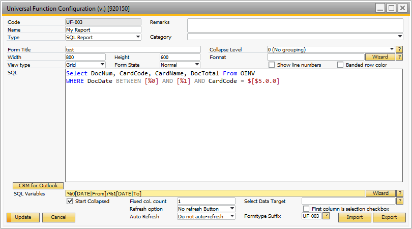 SQL Report Function